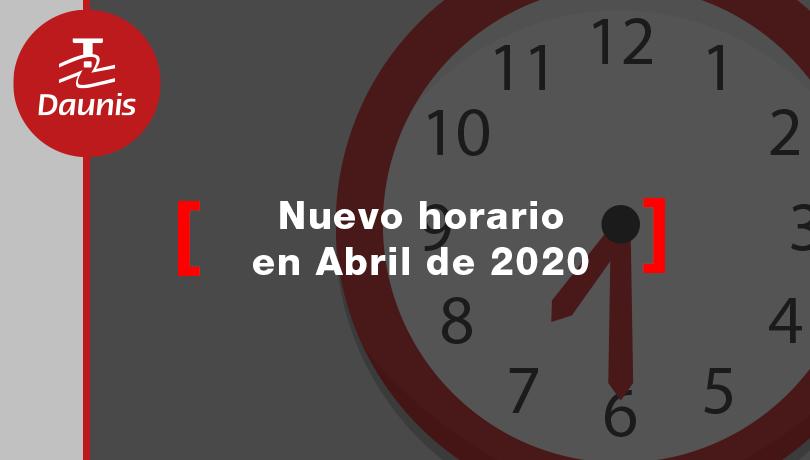 Nuevos horarios: A partir del 2 de Abril de 2020